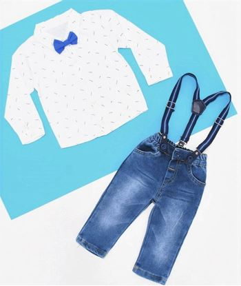Picture of Blue Feather Patterned Shirt Set