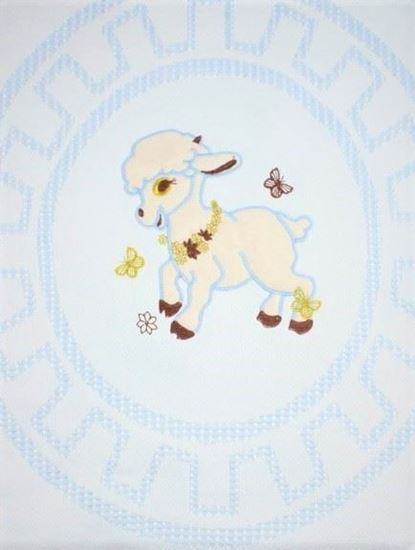 Picture of Light Blue Lamb Embroidered Fiber Blanket