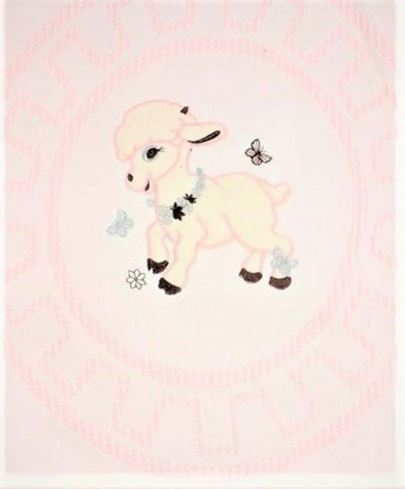Picture of Light Pink Lamb Embroidered Fiber Blanket