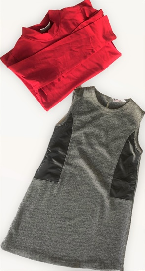 Picture of Red blouse with grey soft sarafan